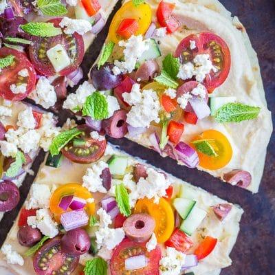No Cook Mediterranean Hummus Pizzas