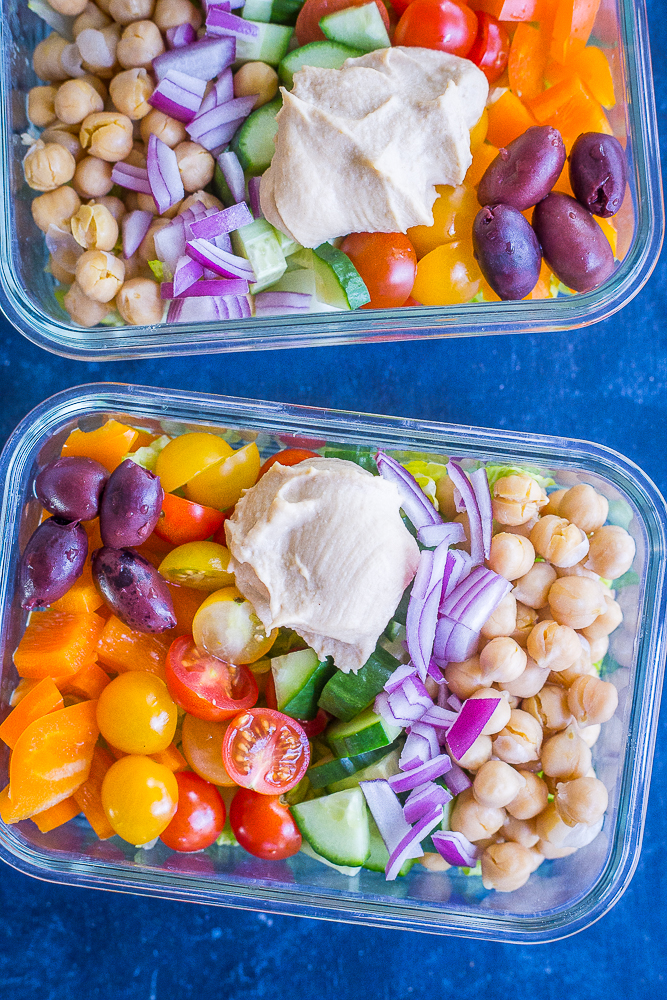 Two containers of Easy Greek Salad Meal Prep Bowls