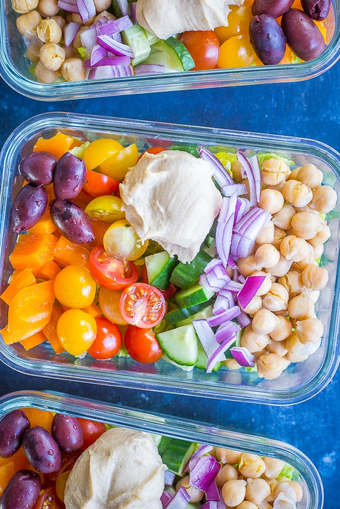 Three containers of Easy Greek Salad Meal Prep Bowls