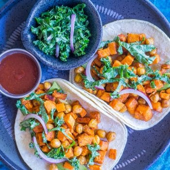 Sweet Potato and Chickpea Tacos with Lemony Kale Slaw