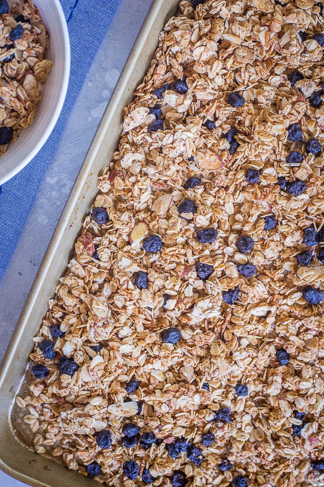 A tray of Homemade Blueberry Almond Granola