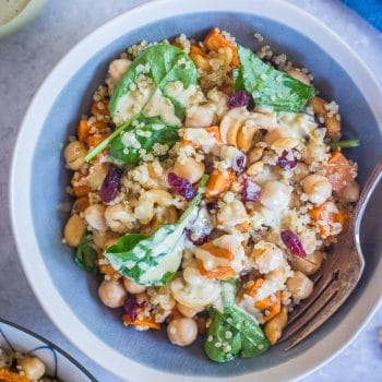 Quinoa Chickpea Sweet Potato Salad with Curry Tahini Dressing