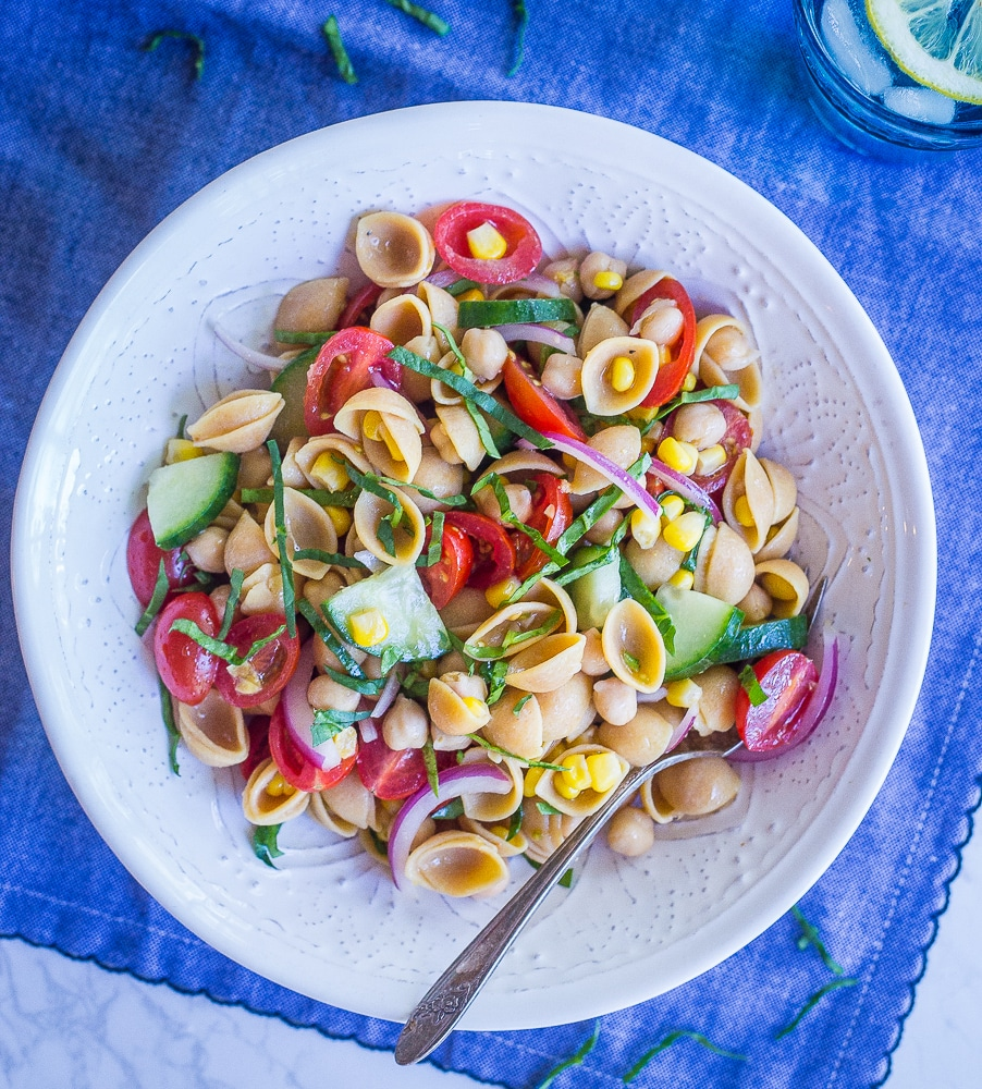 Summer Vegetable Pasta Salad With Chickpeas