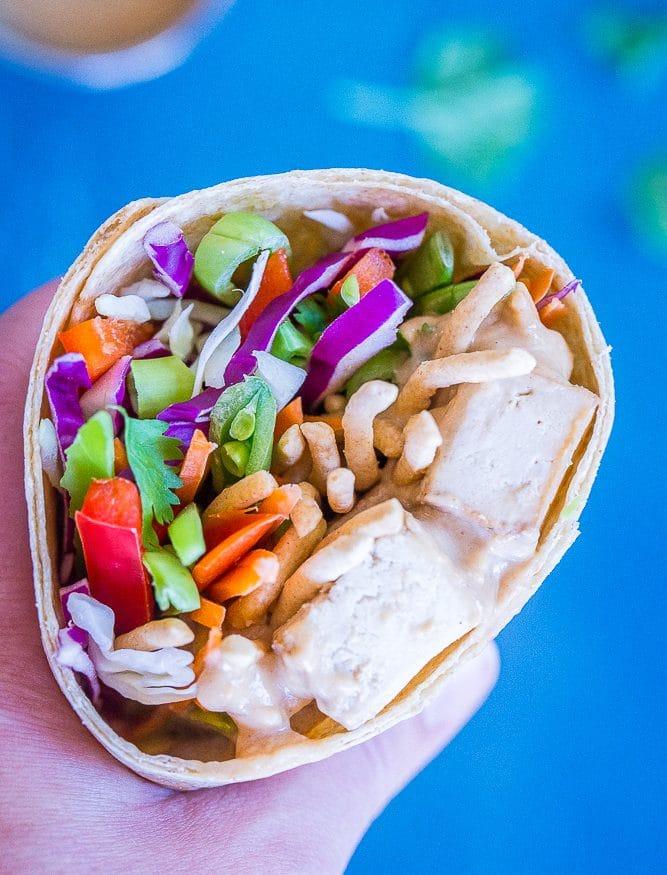 Crunchy Asian Tofu Peanut Wraps