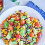 Pinterest collage for Loaded Summer Vegetable Salad with Black Beans