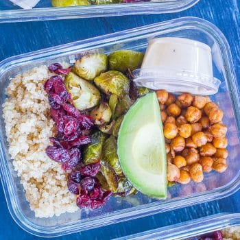 Roasted Brussels Sprout and Chickpea Meal Prep Bowls