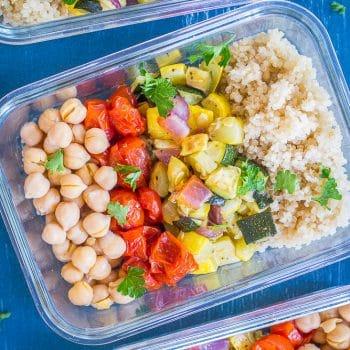 Roasted Summer Vegetable Meal Prep Bowls