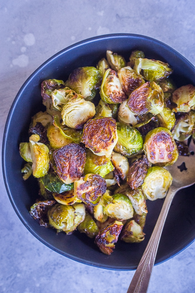 A bowl of the Best Simple Roasted Brussels sprouts