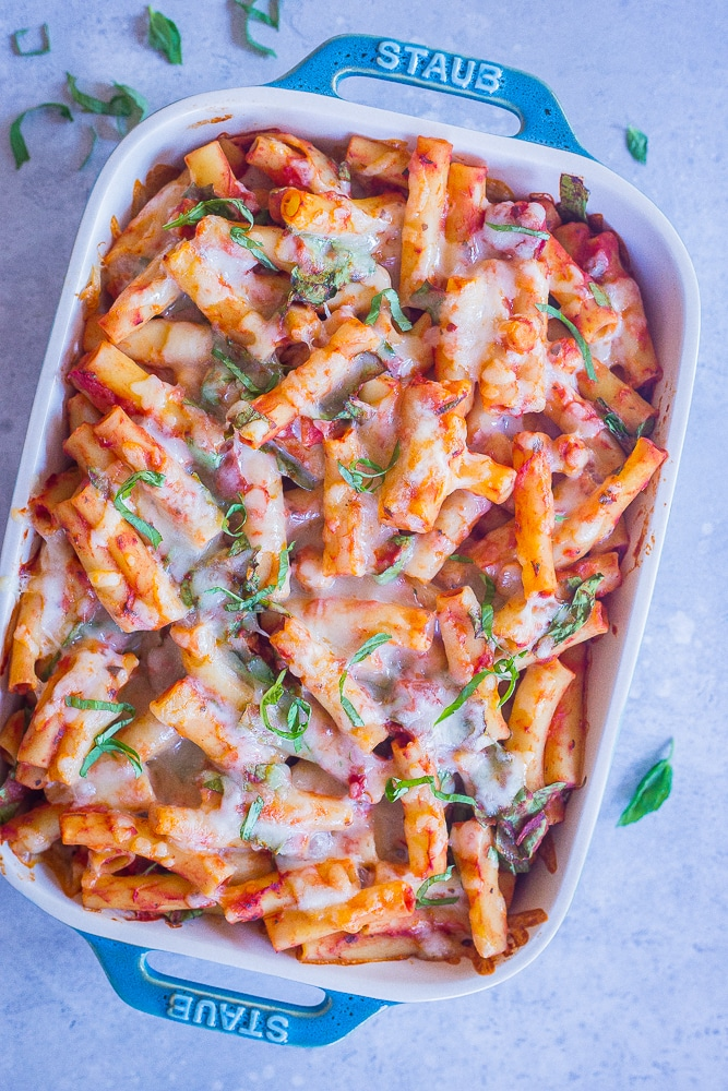 A pan of 5 Ingredient Baked Ziti with Spinach and Chickpeas