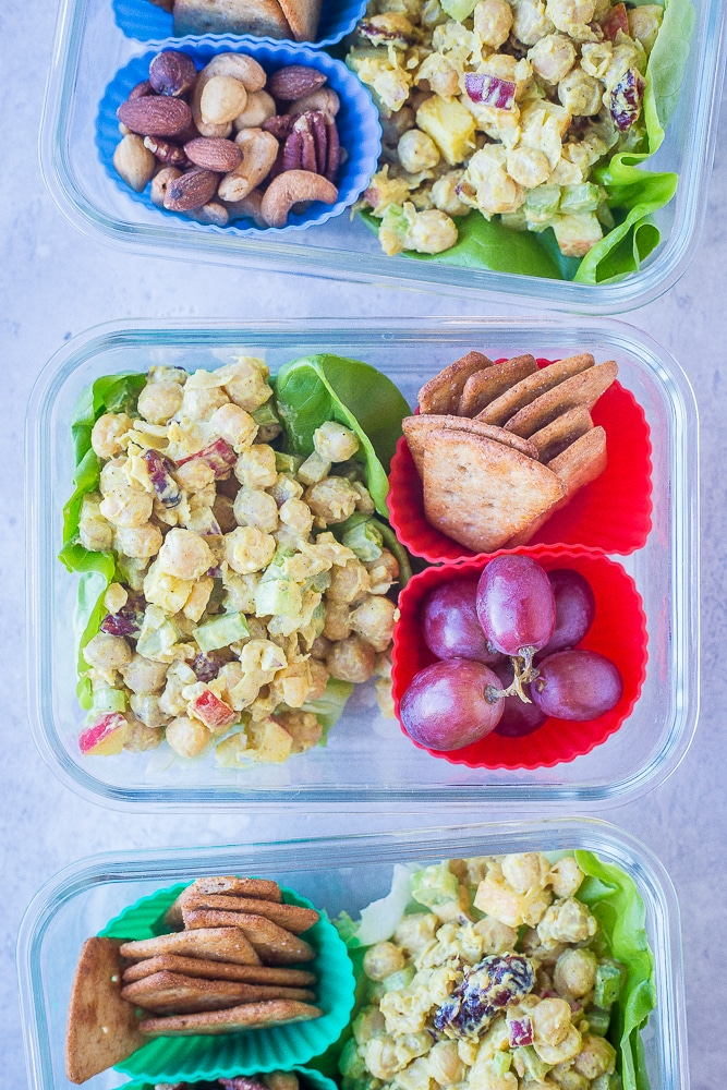 Curried Chickpea Salad Meal Prep Bowls lined up together in a row