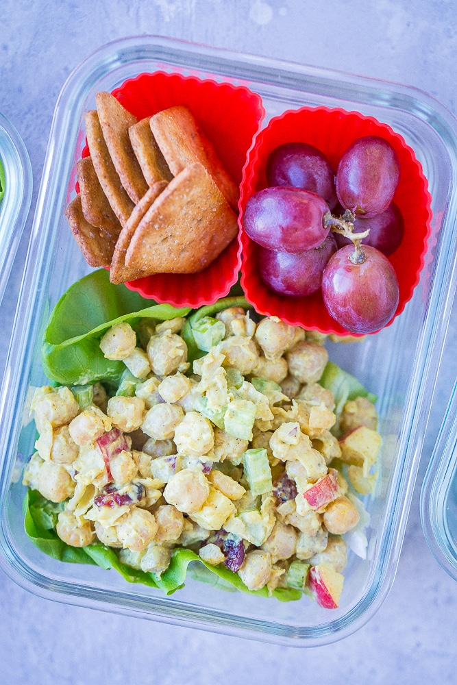 Close up of Curried Chickpea Salad Meal Prep Bowls