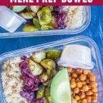 Pinterest long pin for Roasted Brussels Sprout and Chickpea Meal Prep Bowls