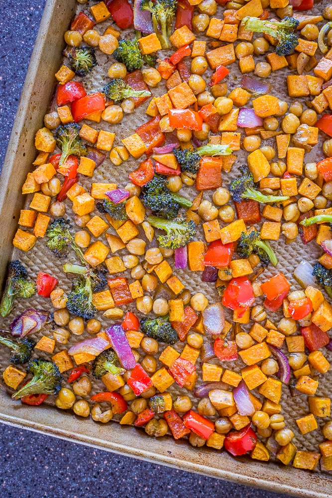 A tray of roasted vegetables for Sheet Pan Roasted Vegetable and Chickpea Bowls