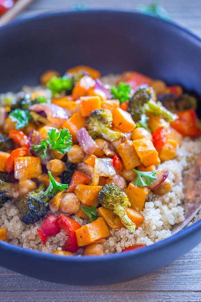 Sheet Pan Roasted Vegetable and Chickpea Bowls