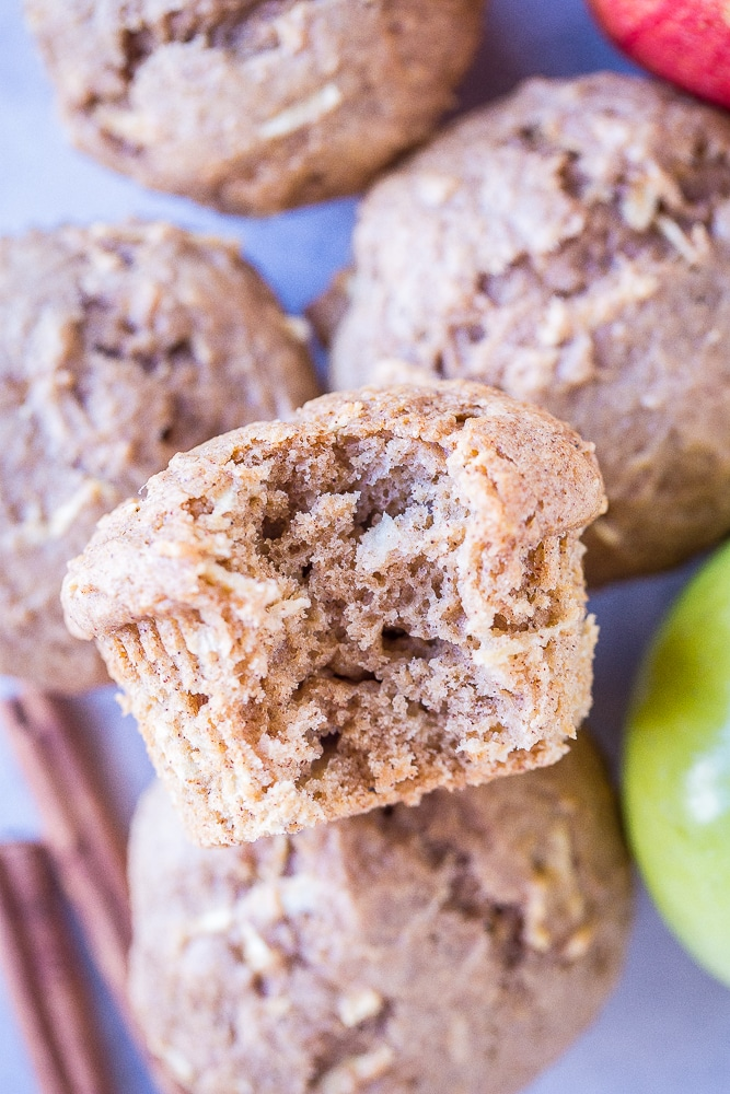 Closeup of Best Healthy Apple Cinnamon Muffins with a bite taken out
