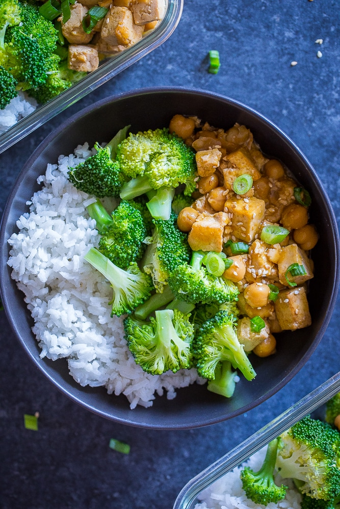 Orange Tofu Chickpea Meal Prep Bowls with meal prep containers