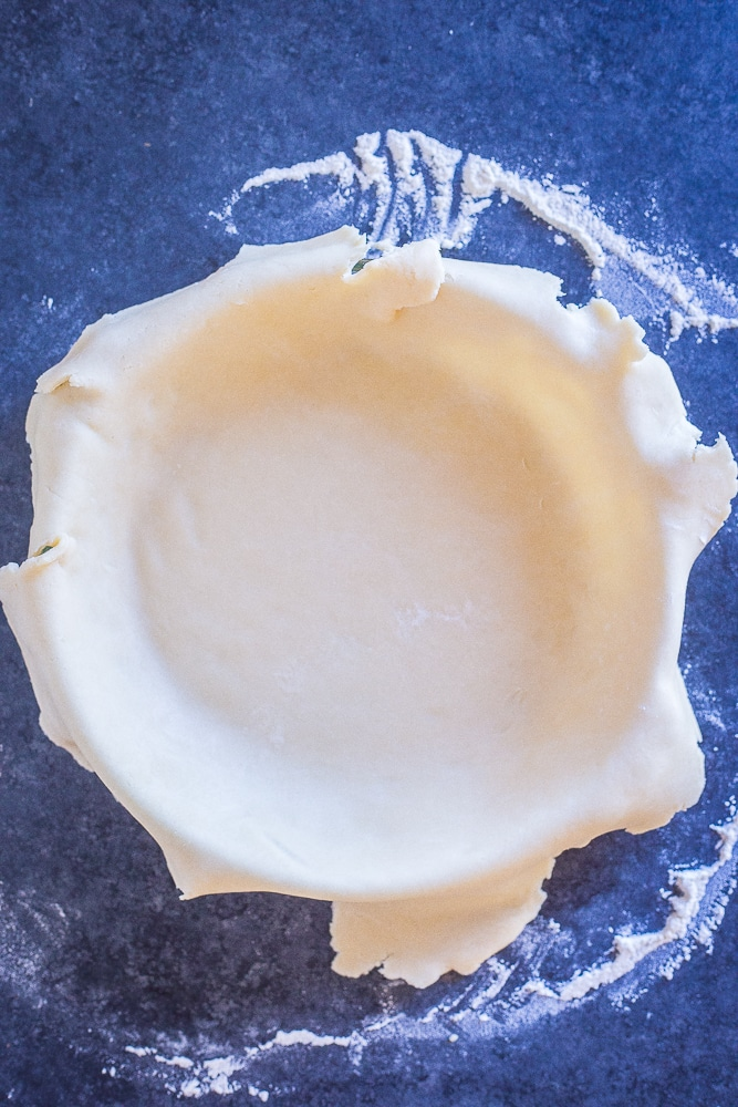 Perfect coconut oil pie crust rolled into a pie dish