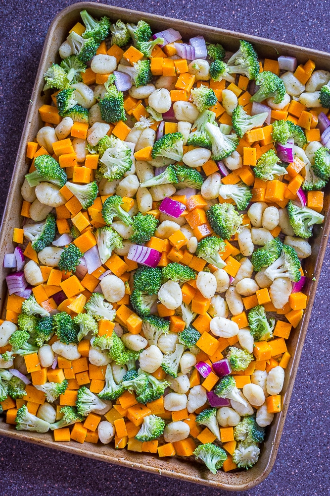 Sheet Pan Roasted Gnocchi, Butternut Squash and Broccoli before it has been cooked