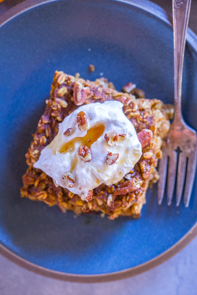 Top view of a slice of Make Ahead Pumpkin Pie Baked Oatmeal on a plate