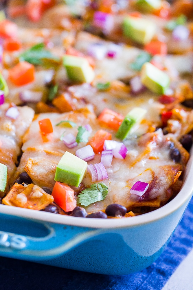 Close up of a pan of Black Bean Enchilada Casserole with Butternut Squash