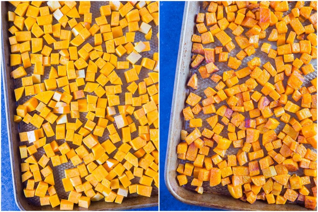 How to Roast Butternut Squash - side by side photos of before and after roasted