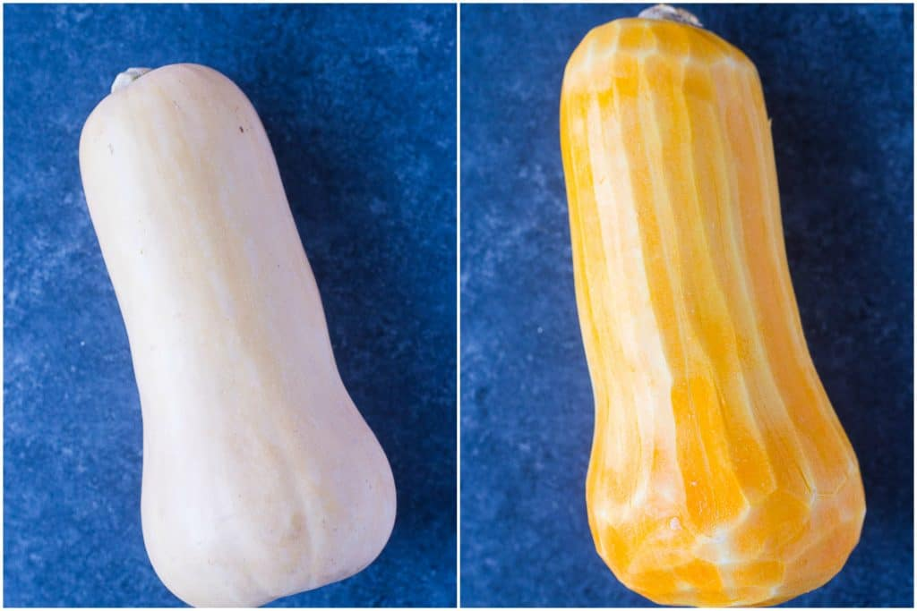 How To Roast Butternut Squash side by side peeled and unpeeled