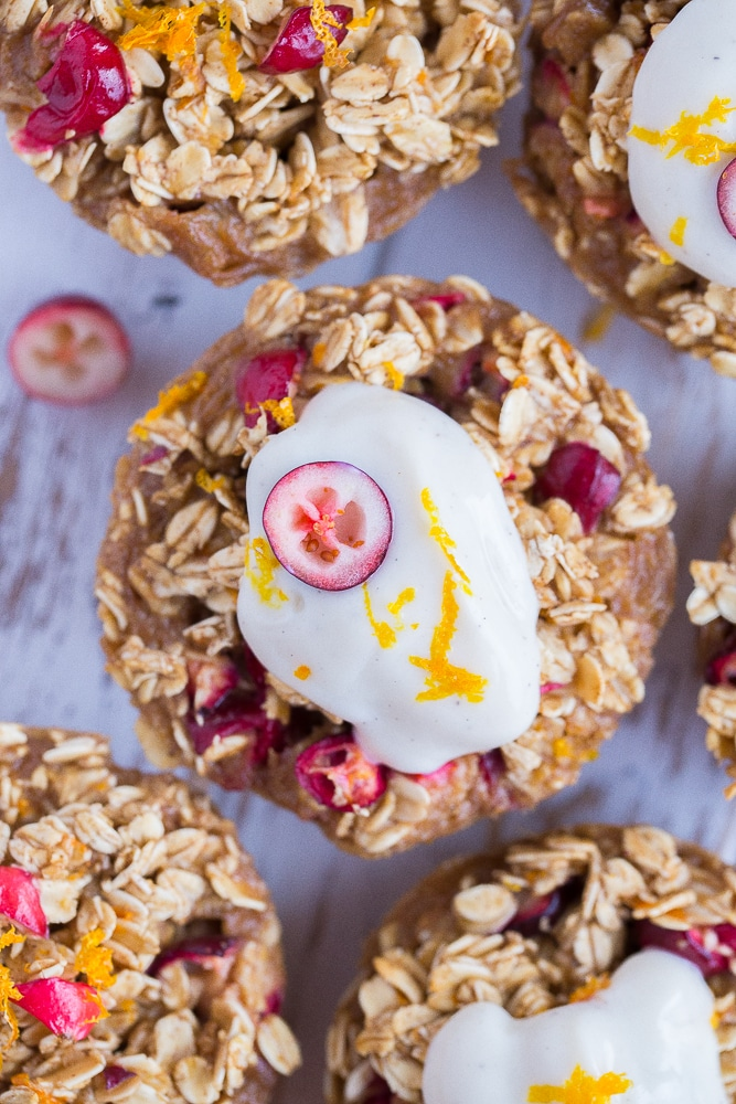Close up of Orange Cranberry Baked Oatmeal Cups