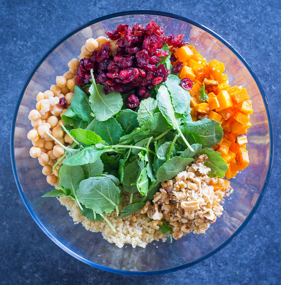 Bowl of ingredients for Winter Quinoa Salad