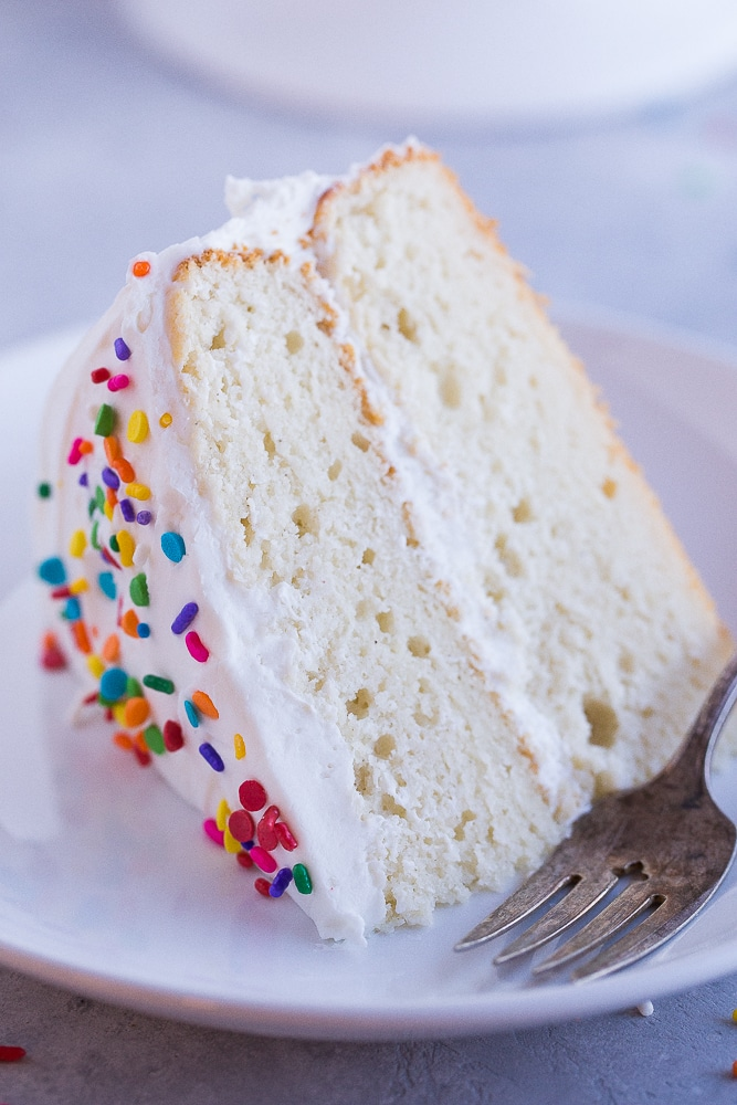 Close up of a piece of Best Gluten Free White Cake