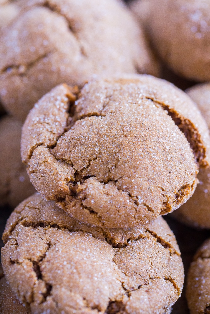 Close up of Vegan Soft and Chewy Molasses Cookies