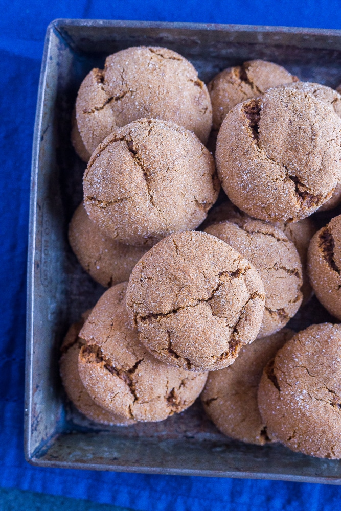 Tray of Vegan Soft and Chewy Molasses Cookies