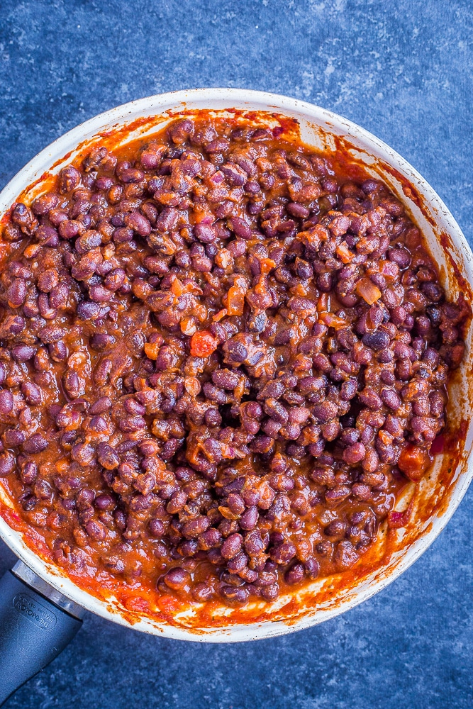 Beans in a pan for 20 Minute BBQ Black Bean Tacos