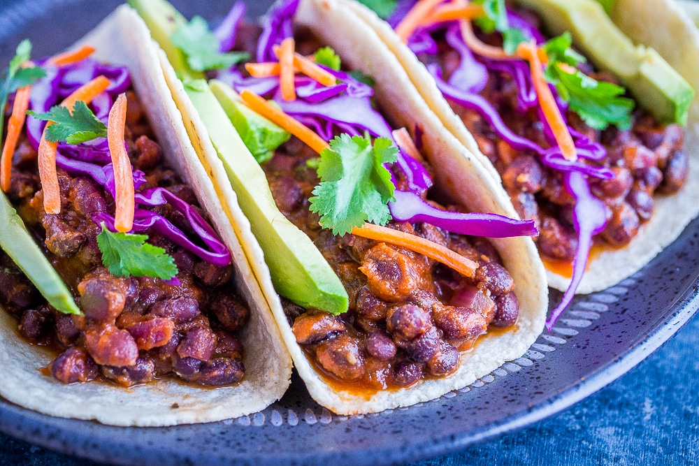 Front view of 20 Minute BBQ Black Bean Tacos on a plate