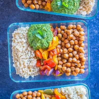 Chickpea Fajita Meal Prep Bowls with Cilantro Lime Pesto