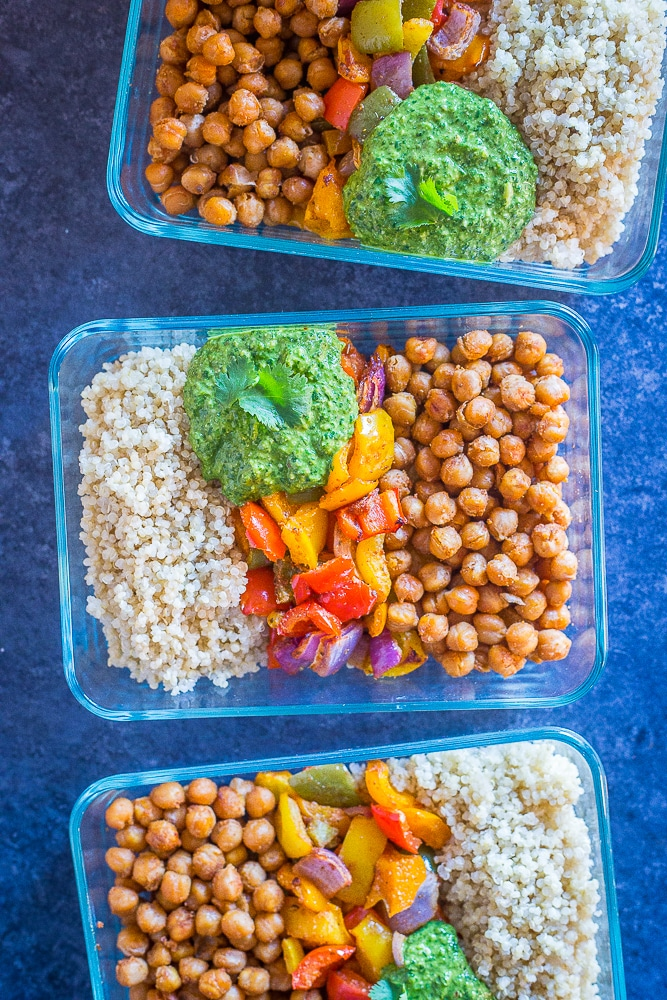 Chickpea Fajita Meal Prep Bowls lined up together