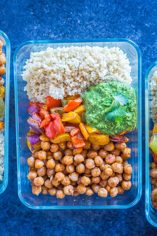 Close up of Chickpea Fajita Meal Prep Bowls