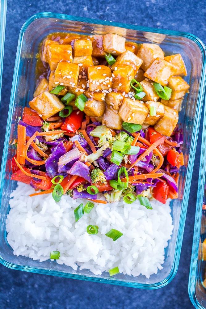 Close up of Sesame Ginger Tofu Meal Prep Bowls