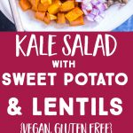 Pinterest collage pin for Kale Salad with Sweet Potato and Lentils