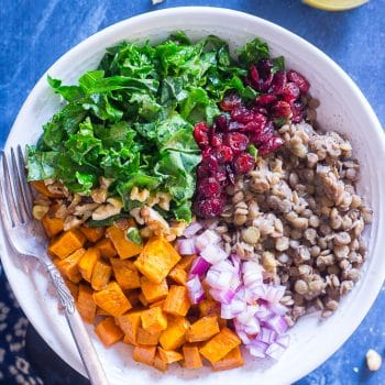 Kale Salad with Sweet Potato and Lentils