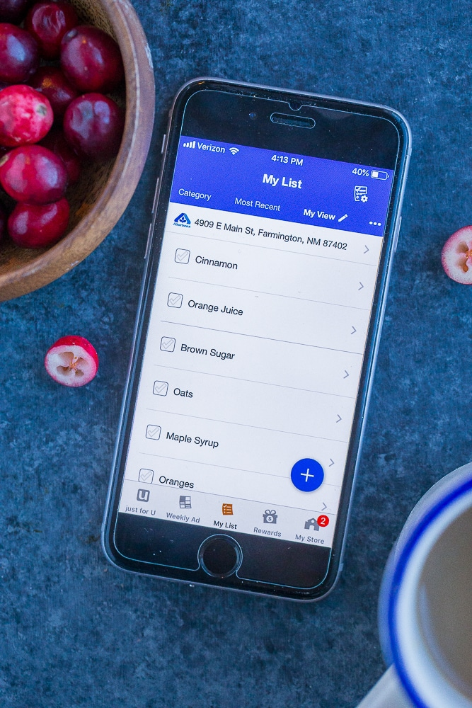 Albertson's phone app for Orange Cranberry Baked Oatmeal Cups