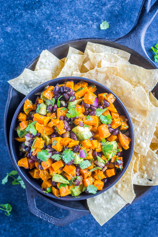 A bowl of Roasted Butternut Squash Salad with Black Beans
