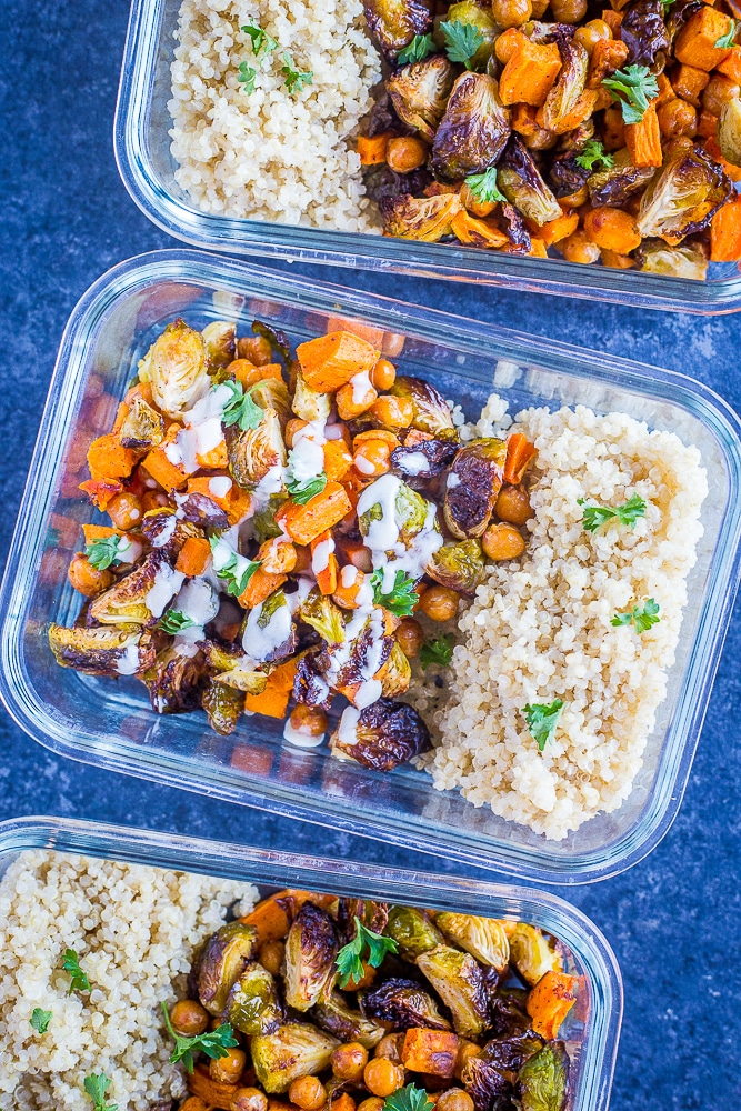 Roasted Sweet Potato and Chickpea Meal Prep Bowls in a row