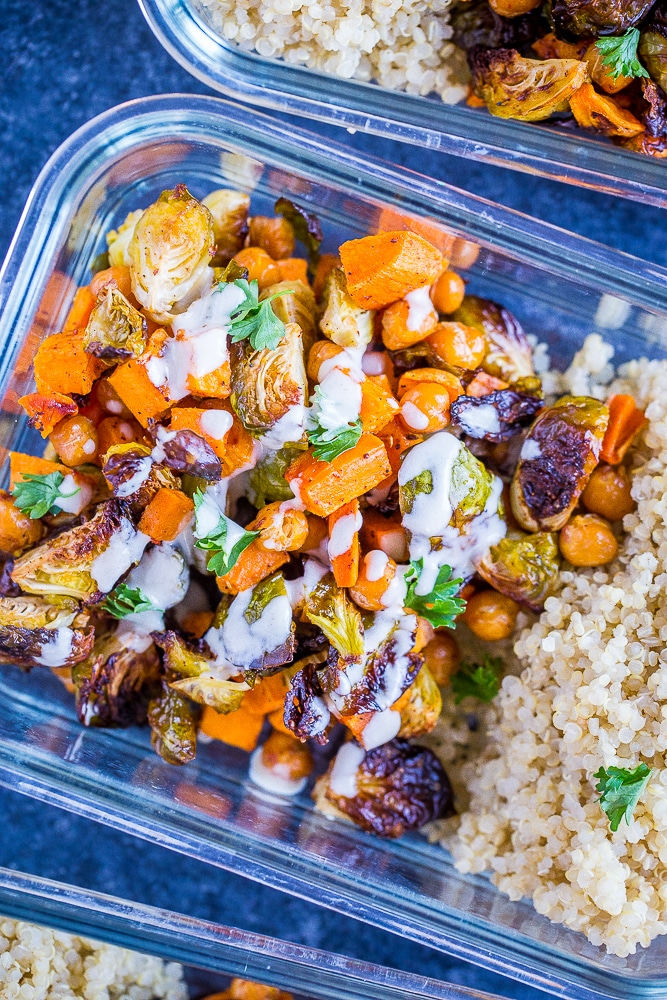 Roasted Sweet Potato and Chickpea Meal Prep Bowls close up with dressing