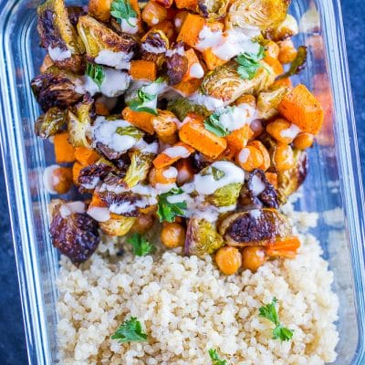 Roasted Sweet Potato and Chickpea Meal Prep Bowls