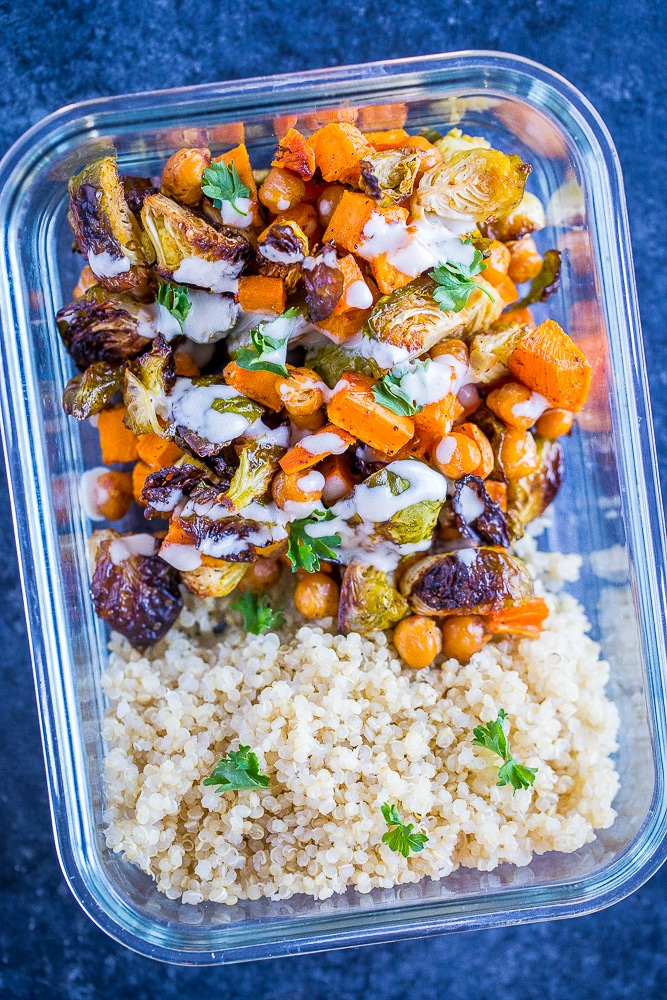 Roasted Sweet Potato and Chickpea Meal Prep Bowls close up