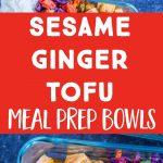 Sesame Ginger Tofu Meal Prep Bowls Pinterest collage pin