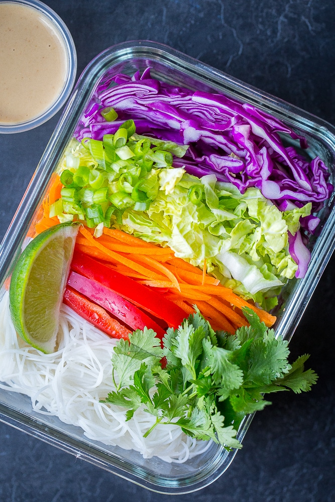Thai Peanut Noodle Bowls with Vegetables - She Likes Food