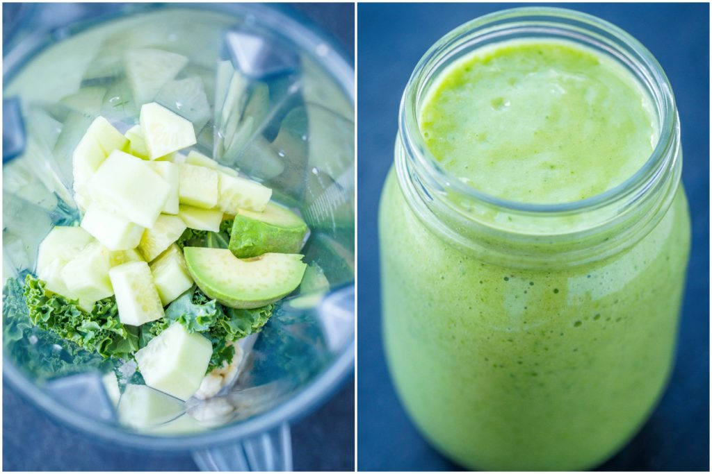 Green Smoothie in blender and jar