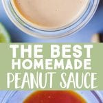 Pinterest long pin for best homemade peanut sauce