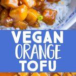Pinterest long pin for vegan orange tofu
